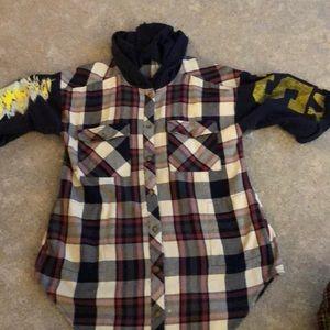 NWOT Free People navy plaid shirt jacket. Size M